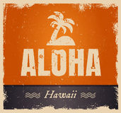 Vector aloha word in vintage colors, retro. Vector aloha word in retro colors, vintage background. Rough edges in grunge style. Island tropical icon with palm Royalty Free Stock Photo
