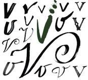 Vector Buchstaben des Alphabetes, das mit einem brus geschrieben wird Stockfotos