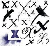 Vector Buchstaben des Alphabetes, das mit einem brus geschrieben wird Stockfoto