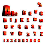 Vector alphabet. Red shiny alphabet with afterglow- vector illustration Royalty Free Stock Images