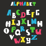 Vector alphabet  on black background. Hand drawn letters Stock Images