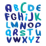 Vector Alphabet blue bubbles Set illustration Royalty Free Stock Image