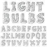 Vector alphabet with bulbs - Vector illustration Stock Photos