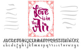Vector Alphabet. Calligraphic font Love is in air. Unique Custom Characters. Hand Lettering for Designs - logos, badges Stock Images