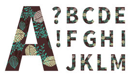Vector alphabet, capital letters with floral. Leaves ornament Royalty Free Stock Photography