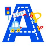 Vector alphabet car. For wallpaper wall Royalty Free Stock Photo