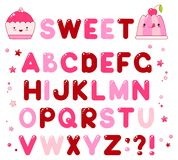 Vector alphabet with caramel candy shiny letters. Of brown, lilac and red colors. For sweet design. EPS8 Stock Image
