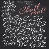 Vector alphabet.  Chalk font on blackboard. Vector alphabet. Hand drawn letters. Chalk font on blackboard background Royalty Free Stock Image