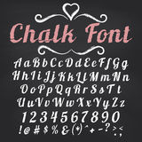 Vector alphabet.  Chalk font on blackboard. Vector alphabet. Hand drawn letters. Chalk font on blackboard background Stock Photo