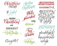 Vector alphabet. Christmas and New Year congrats. Season greetings. Royalty Free Stock Photo
