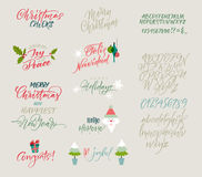 Vector alphabet. Christmas and New Year congrats. Season greetings. Lettering for postcards and greetings to family and friends stock illustration