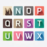 Vector Alphabet colorful Font with Sahdow Style. Royalty Free Stock Image