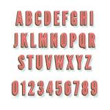 Vector Alphabet der Weinlese 3D mit Schatten und Volumen Lizenzfreies Stockbild
