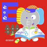 Vector alphabet & elephant. For wallpaper wall Royalty Free Stock Photo