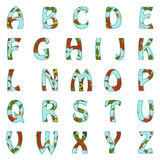 Vector Alphabet with floral pattern Royalty Free Stock Photo