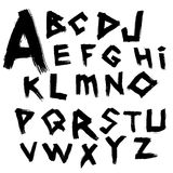 Vector alphabet. Font written by wide brush in the ancient style tracing. Stock Images