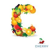 Vector Alphabet From Fruit. Letter C. Vector Alphabet From Fruit. For Letter C Fruit is Cherry Royalty Free Stock Photography