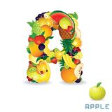 Vector Alphabet From Fruit. Letter A Royalty Free Stock Photos