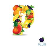 Vector Alphabet From Fruit. Letter P. Vector Alphabet From Fruit. For Letter P Fruit is Plum Royalty Free Stock Photos