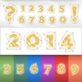 Vector alphabet golden numbers Royalty Free Stock Photos