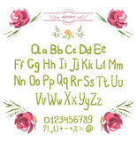 Vector Alphabet. Hand Drawn Green Letters and Flowers Stock Photography