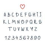 Vector alphabet. Hand drawn letters. Font Stock Photos
