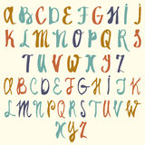Vector alphabet. Hand drawn letters. Letters of the alphabet written with a brush. ABC Painted Letters Stock Image