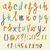 Vector alphabet. Hand drawn letters. Letters of the alphabet written with a brush. ABC Painted Letters and numbers. Modern Brushed. Lettering. Painted Alphabet Vector Illustration