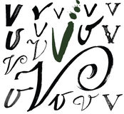 Vector letters of the alphabet written with a brus Stock Photos