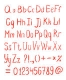 Vector Alphabet. Hand Drawn Red Letters Stock Photo