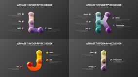 Vector alphabet I, J, K, L symbols infographic 3D realistic colorful balls presentation bundle. Vector alphabet infographic 3D realistic colorful balls stock illustration