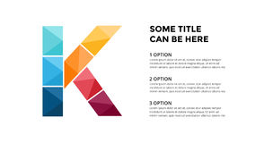 Vector alphabet infographic, presentation slide template. Business concept with letter K and place for your text. 16x9 Stock Image