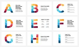 Vector alphabet infographic, presentation slide template. Business infographics concept with letters A, B, C, D, E, F, G Stock Photo