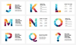 Vector alphabet infographic, presentation slide template. Business infographics concept with letters J, K, L, M, N, O, P. Circle arrows diagram for graph Stock Photos