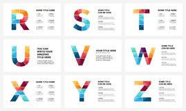 Vector alphabet infographic, presentation slide template. Business infographics concept with letters R, S, T, U, V, W, X Royalty Free Stock Photography