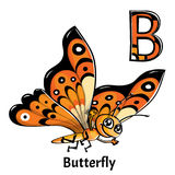 Vector alphabet letter B. Butterfly vector illustration