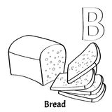 Vector alphabet letter B, coloring page. Bread. Vector alphabet letter B for children education with bread. Isolated. Learn to read. Coloring page Stock Image
