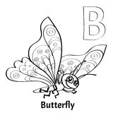 Vector alphabet letter B, coloring page. Butterfly. Vector alphabet letter B for children education with funny cartoon butterfly. Isolated. Learn to read Royalty Free Stock Photos