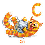 Vector alphabet letter C. Cat stock illustration