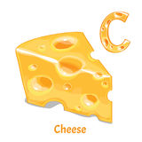 Vector alphabet letter C. Cheese. Vector alphabet letter C for children education with cheese. Isolated. Learn to read Royalty Free Stock Photography