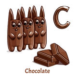 Vector alphabet letter C. Chocolate. Vector alphabet letter C for children education with chocolate. Isolated. Learn to read. Coloring page Royalty Free Stock Photos