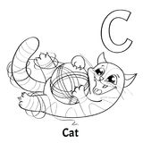 Vector alphabet letter C, coloring page. Cat. Vector alphabet letter C for children education with funny cartoon cat. Isolated. Learn to read. Coloring page Royalty Free Stock Image
