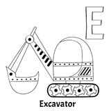 Vector alphabet letter E, coloring page. Excavator. Vector alphabet letter E for children education with funny cartoon excavator. Isolated. Learn to read Royalty Free Stock Photography