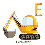 Vector alphabet letter E. Excavator. Vector alphabet letter E for children education with funny cartoon excavator. Isolated. Learn to read Stock Image