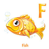 Vector alphabet letter F. Fish. Vector alphabet letter F for children education with funny cartoon gold fish. Isolated. Learn to read Royalty Free Stock Photo