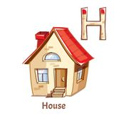 Vector alphabet letter H. House. Vector alphabet letter H for children education with cartoon house. Isolated. Learn to read Stock Photography