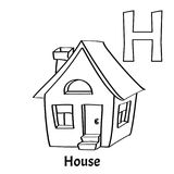 Vector alphabet letter H, coloring page. House. Vector alphabet letter H for children education with cartoon house. Isolated. Learn to read. Coloring page Stock Photo