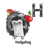 Vector alphabet letter H. Hedgehog. Vector alphabet letter H for children education with funny cartoon hedgehog. Isolated. Learn to read Royalty Free Illustration