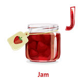 Vector alphabet letter J. Jam. Vector alphabet letter J for children education with jar of strawberry jam. Isolated. Learn to read. Coloring page Royalty Free Stock Photos