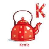 Vector alphabet letter K. Kettle. Vector alphabet letter K for children education with cartoon red kettle. Isolated. Learn to read vector illustration